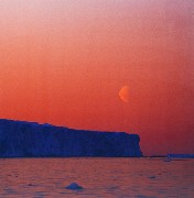 Framed Canvas Print - Moonrise over Iceberg