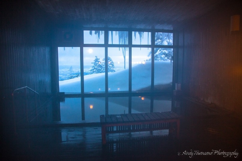 Looking out onto a winter scene at the Kamihoroso onsen.