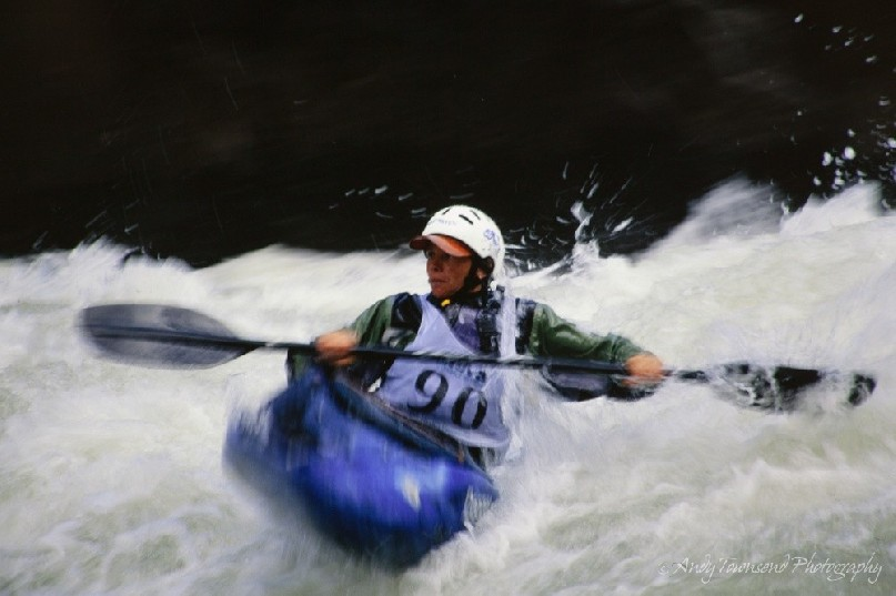 A kayaker negotitates a rapid in the Cataract gorge in Launceston, Tasmania.