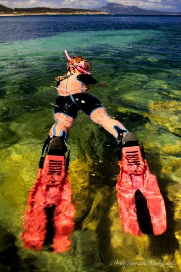 Snorkling in the clear cold water of Trousers Point, Flinders Island it's possible to see colourful tropical fish.<br /><br />The Trousers Point walk, within the Strzelecki National Park includes unusual rock features, views to off-shore islands and two beautiful beaches.