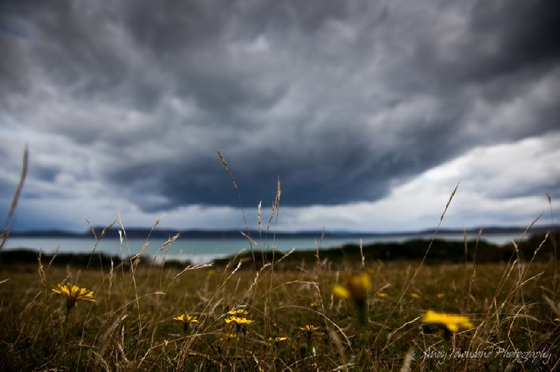 Storm clouds gather in Cloudy Bay, South Bruny Island.