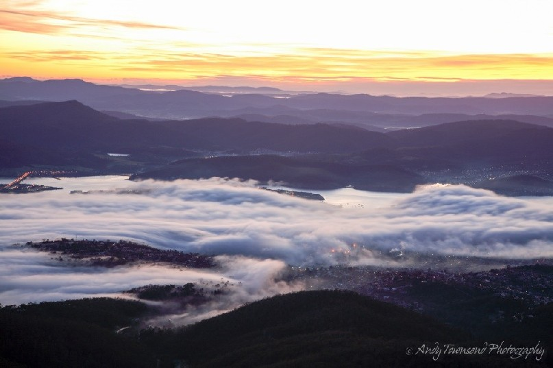 A fog called the 'Bridgewater Jerry' forms over the Derwent river in Hobart
