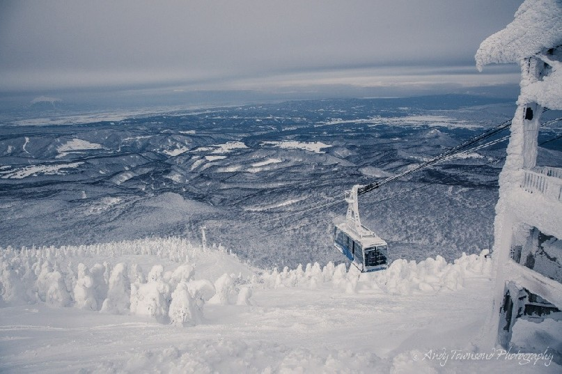 The Hakkoda gondola pauses before entering it's icy resting place.