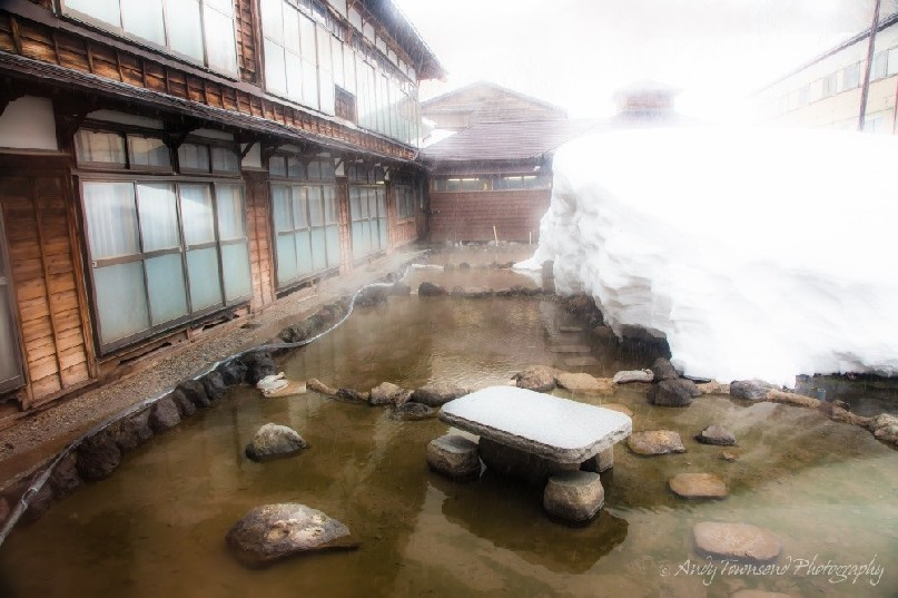 Warm water from the springs feeds into the small courtyard to help keep the building clear of snow.
