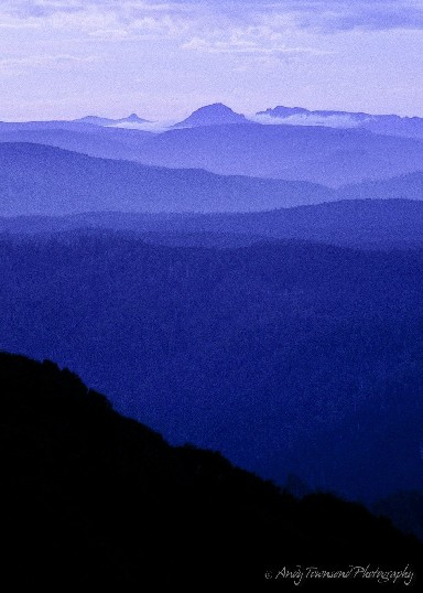 An early morning view from Mt Ramsey looking out over the misty blue ridgelines of the Tarkine forests towards the Cradle Mountain plateau.