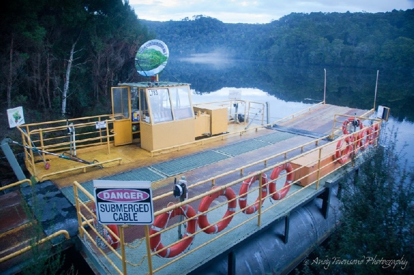 """The """"Fatman"""" barge allows vehicles to travel from north or south across the Pieman River. It is the only cable driven vehicular barge in Tasmania"""