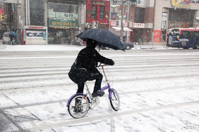 A cyclist in Ueno rides with an umbrella through the snowy streets.