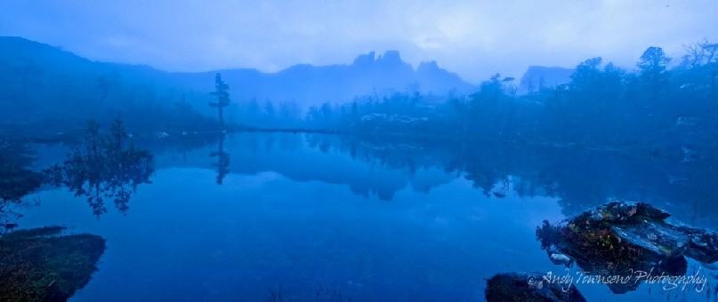 The morning dawns cool and misty and feels eerie in the blue light.