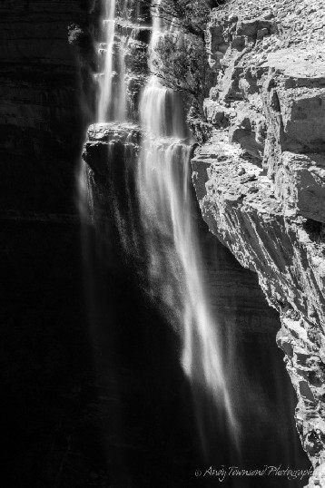 Soft tendrils of water in a long exposure of Wentworth Falls.