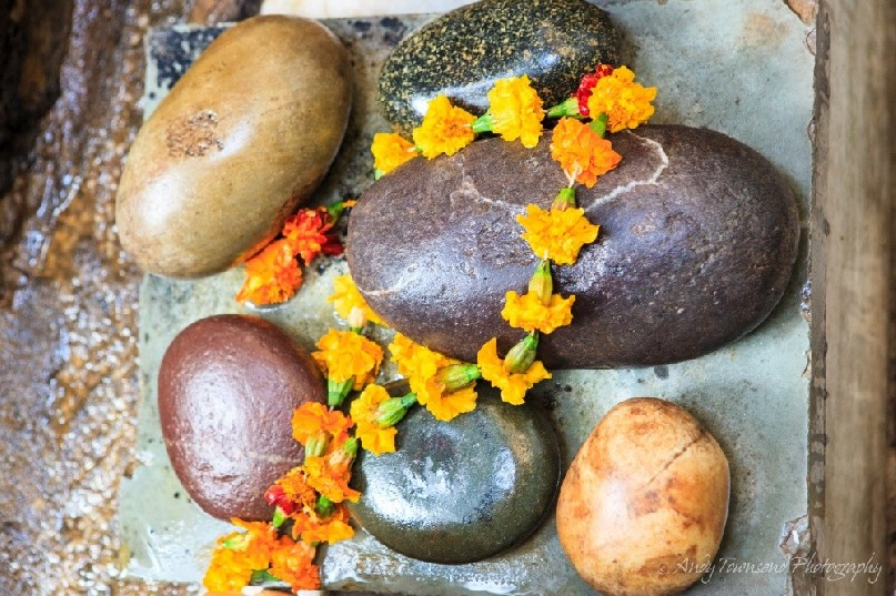 A braid of Marigold flowers drapped over smooth stones.