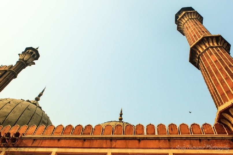 The view up towards the turrets of Jama Masjid mosque in Old Delhi.