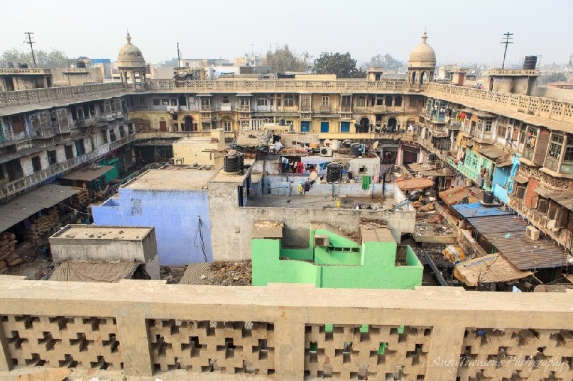 The view over the wholesale  spice market in Chandni Chowk.