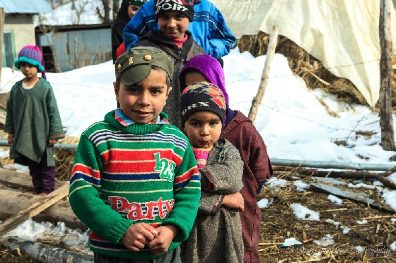 A group of young boys line up for a portrait in Drung village near Gulmarg.