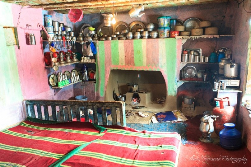 A colourful kitchen of a house in Drung village.