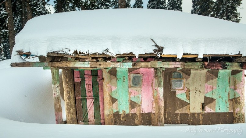 A colourful shepards hut in the alpine area of Gulmarg is abandoned over winter.
