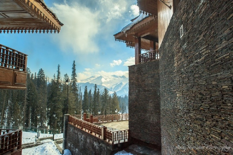 View from inside the Khyber to the mountains of Gulmarg.