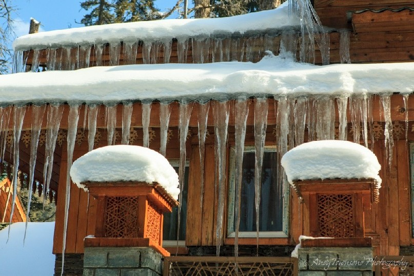 Two tiers of icicles form from the Khyber Hotel gutters.