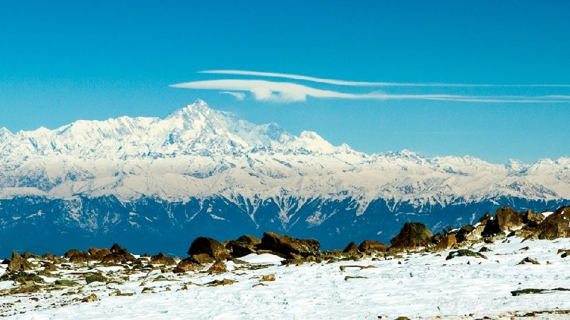 View to Nanga Parbat from Mt Apharwat with a lenticular cloud forming over the summit.