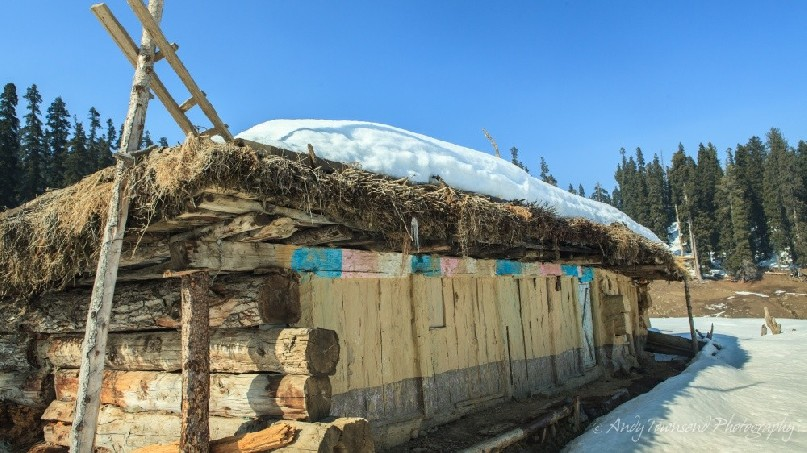 A shepards hut in the alpine area of Gulmarg is abandoned over winter.