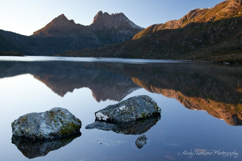 A classic view of Cradle Mountain over Dove Lake.