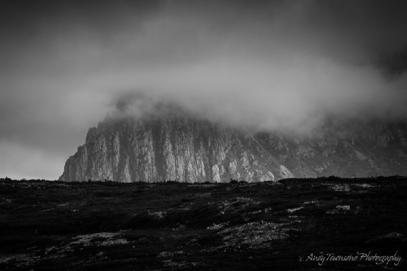 Low cloud rolls in obscuring Little Horn on the northern end of Cradle Mountain.