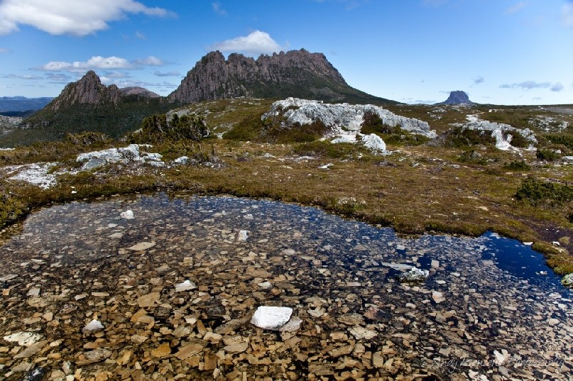 The view from the top of Marions lookout, on the overland track looking towards Cradle Mountain and Barn Bluff.