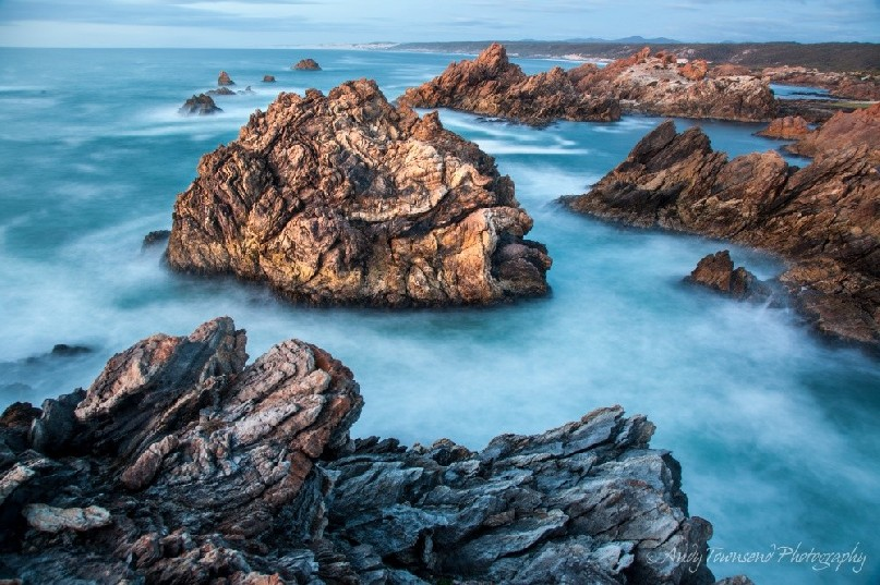 A slow exposure softens the wild ocean on this exposed part of the Tarkine coast.