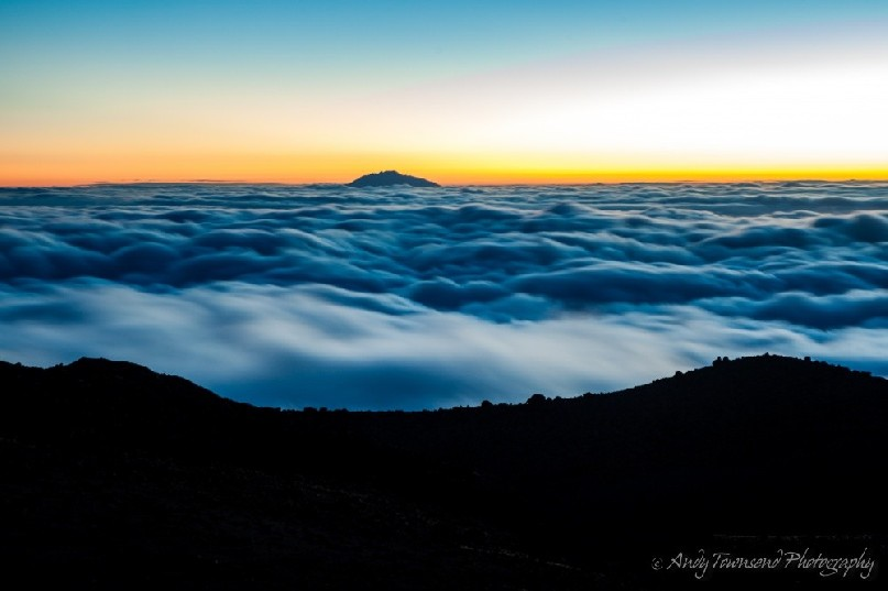 Above the clouds, after sunset over Mt Meru at Lava Tower camp.