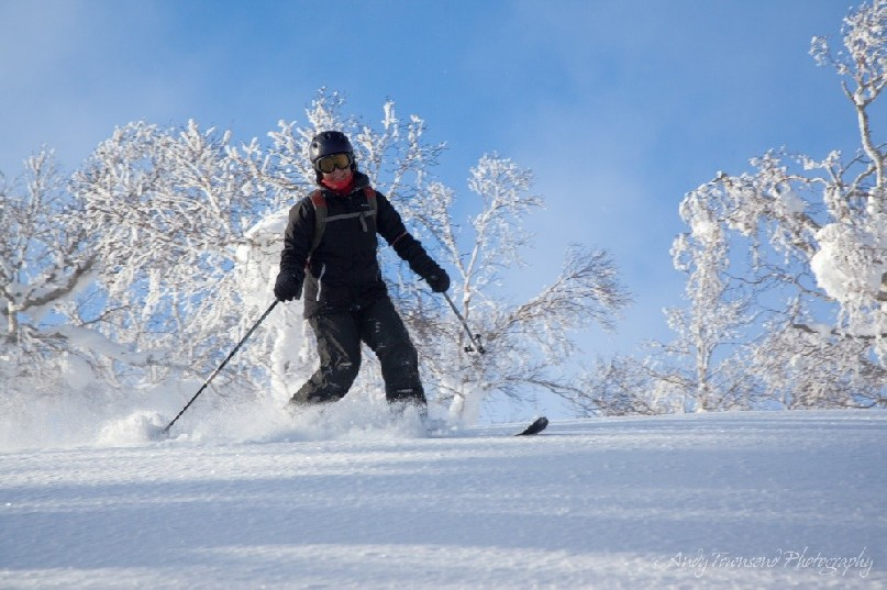 A telemark skier initiates a turn in the dry powder